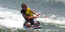 picture of boy on knee board